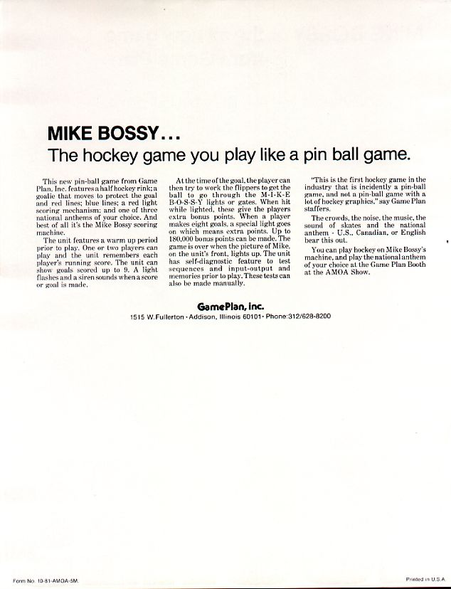 Game Plan Mike Bossy Flyer
